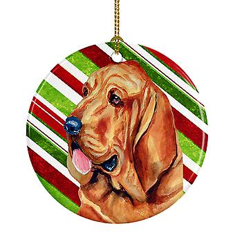 Bloodhound Candy Cane Holiday Christmas Ceramic Ornament LH9241