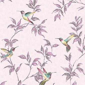 Birds Glitter Floral Wallpaper Leaf Sparkle Shimmer Tree Leaves Pink Yellow Blue