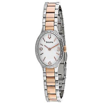 Bulova Women's Diamond White Dial Watch - 98R190