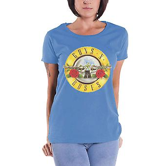 Guns N Roses T Shirt Classic Bullet band Logo Official Womens Skinny Fit Blue