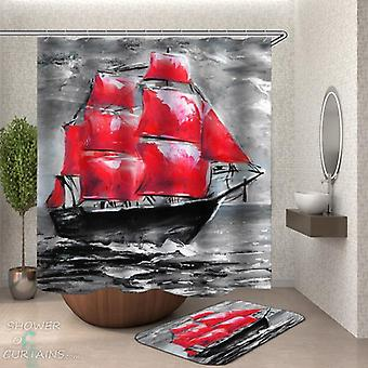 Black and Red Art Painting Ship Shower Curtain