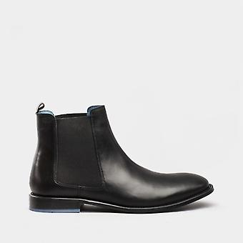 Oswin Hyde Douglas Mens Leather Chelsea Boots Black