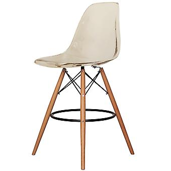 Charles Eames Style Clear Smoke Plastic Bar Stool