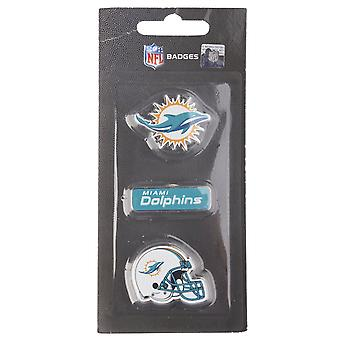 Miami Dolphins NFL PIN Badge PIN sett med 3