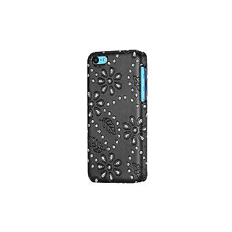Hull For iPhone 5c Black Leather And Strass