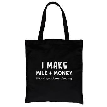 Faça o dinheiro do leite preto pesado algodão eco saco da lona presentes bonitos da mamã