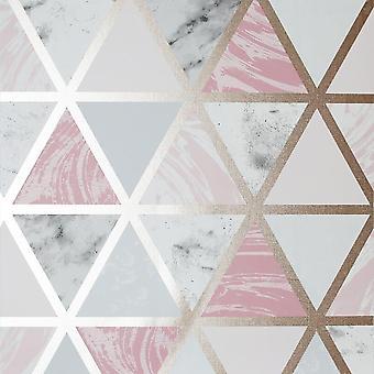 Marble Geo Multicoloured Wallpaper Pink Metallic Triangle Arthouse
