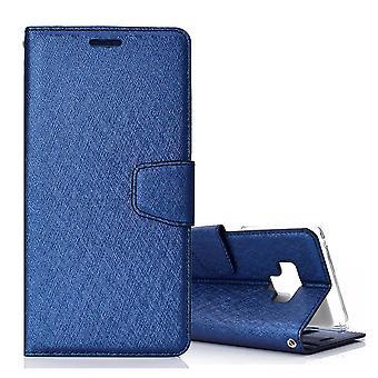 For Samsung Galaxy Note 9 Leather Wallet Case Dark Blue Silk Texture Flip Cover