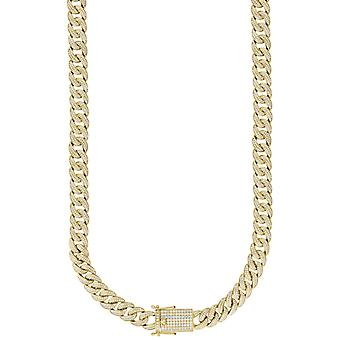 925 Sterling Silver Yellow Tone Mens CZ Cubic Zirconia Simulated Diamond Miami Curb Chain 12mm 30 Inch Jewelry Gifts for