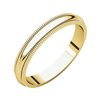 10k Yellow Gold 3mm Milgrain Band Ring  Jewelry Gifts for Women - Ring Size: 6 to 10