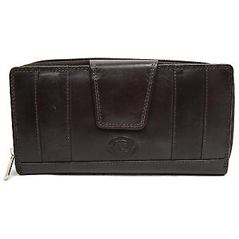 Ladies / Womens Large Leather Matinee Purse with Mulitple Features - Black