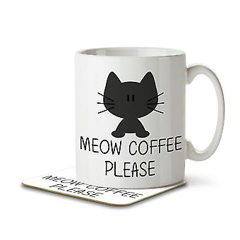 Meow Coffee Please - Mug and Coaster