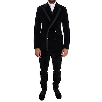Dolce & Gabbana Black Velvet Slim Double Breasted Suit With Silky Border