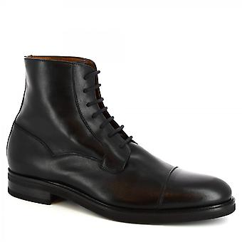 Leonardo Shoes Men's handmade laced fashion ankle boots in black calf leather