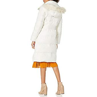 Cole Haan Women's Essential Down Coat with Fur Trim Hood, White, X-Small
