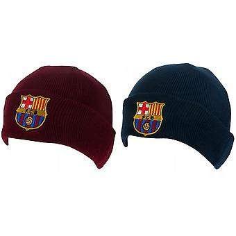 FC Barcelona Official Adults Unisex Turn Up Knitted Hat