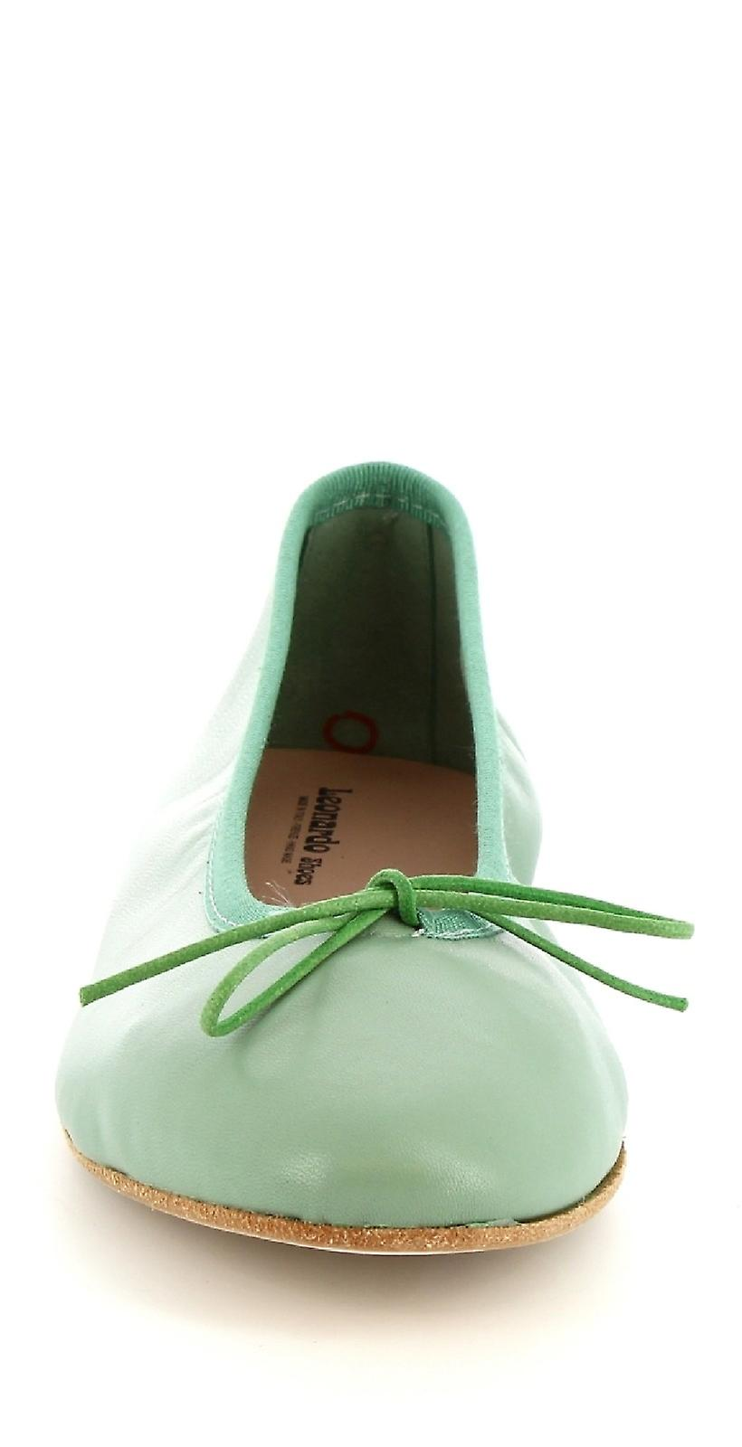 Leonardo Shoes 6087cuoionappaverde Women-apos;s Green Leather Flats