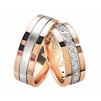 Rose gold wedding rings with diamonds 0.25 ct.