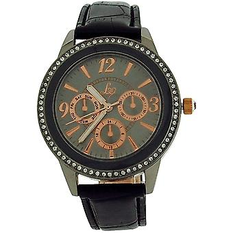 Lipsy Womens Crystal Bezel Chrono Effect Dial Black PU Strap Watch LP284