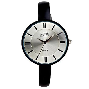 Reloj de moda Eton, estuche negro chapado con goma y correa de cuero 3168J-BK