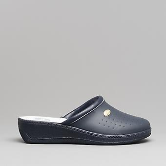 Medi Mules Mary Ladies Leather Mule Clogs Navy