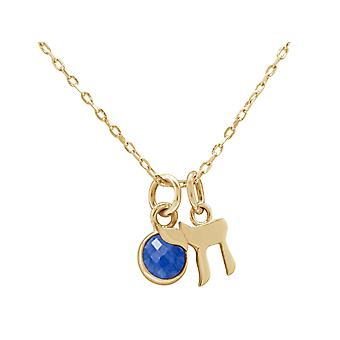 Necklace Jewish Chai life pendant in 925 silver, gold plated, rose - SAPHIR