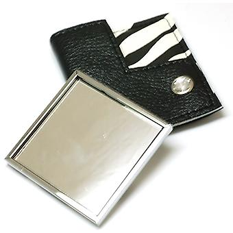 Compact Mirror Zebra Black & White In Pouch