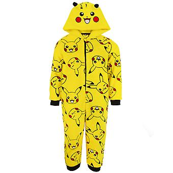 pokemon pikachu gul 3d ører onesie barn søvn dress