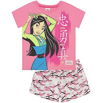 Disney Mulan Pyjamas Loyal Brave True Girl's Pink Tee & Shorts PJs Nightwear Set
