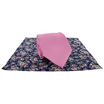 Paret London ren slips og kontrast Floral Pocket Square sett - rosa