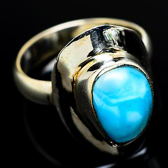 Larimar Ring Size 7 (925 Sterling Silver)  - Handmade Boho Vintage Jewelry RING7806