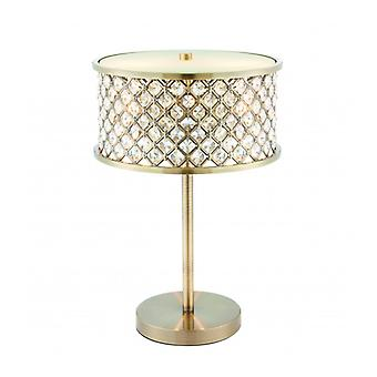 Hudson Lamp, Antique Brass And Crystal