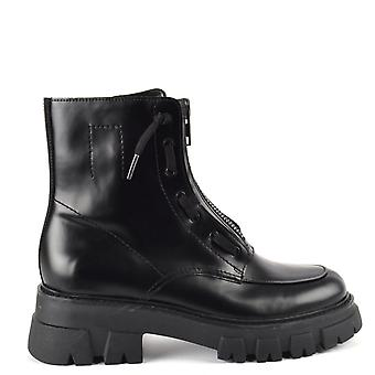 Ash LYNCH Zip Front Boots Black Leather