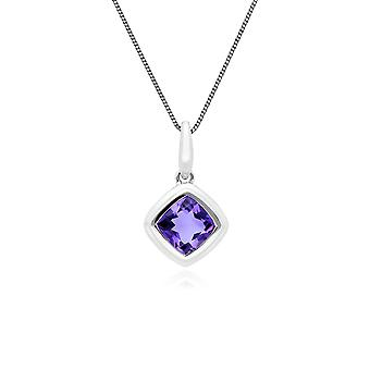 Classic Cushion Amethyst Bezel Set Pendant Necklace in 9ct White Gold 162P0206029