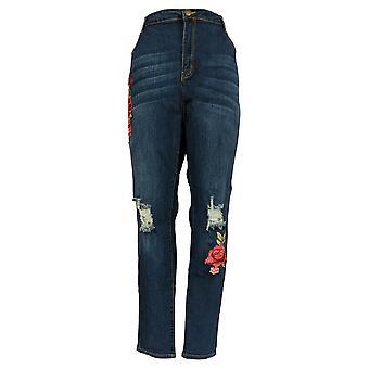 K Jordan Women's Plus Jeans22W Destructed Floral Patch Skinny Leg Blue