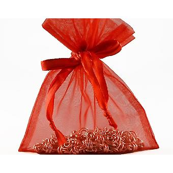 12 Small Red Organza Favour Gift Bags - 10cm x 12.5cm