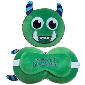 Monstarz Childrens/Kids Monster Travel Pillow With Eye Mask