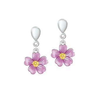Eternal Collection Primrose vaaleanpunainen emali kukka pudota clip korvakorut