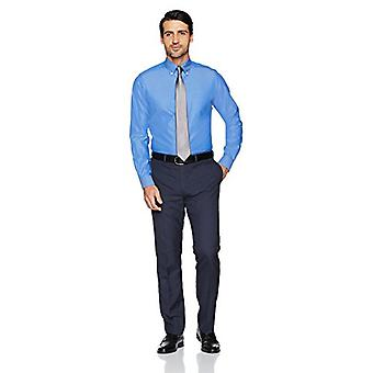"""BUTTONED DOWN Men's Tailored Fit Button-Collar Solid Non-Iron Dress Shirt (Pocket), French Blue, 17"""" Neck 35"""" Sleeve"""