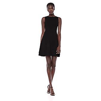 Lark & Ro Women's Sleeveless Ballet Neck Fit and Flare Sweater Dress, Black, Medium