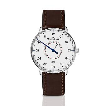MeisterSinger Neo Pointer Display Automatic NED901-SCF03 Brown Strap White Dial Men's Watch