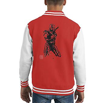 Sumi E Art Robocop Kid ' s Varsity jakke