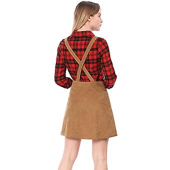 Allegra K Women's Straps Button Decor A-line Pinafore Corduroy Overall Dress ...