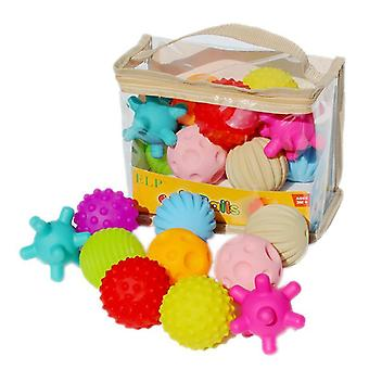Baby Rubber Hand Ball Toys -textured Touch Ball For Sensory Fun Bath Time Type - Colorful 6pcs