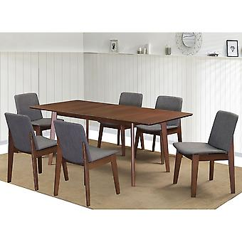 Adelaide/Maxwell Rectangular 7Pc Dining Set - Walnut Table/Grey Chair