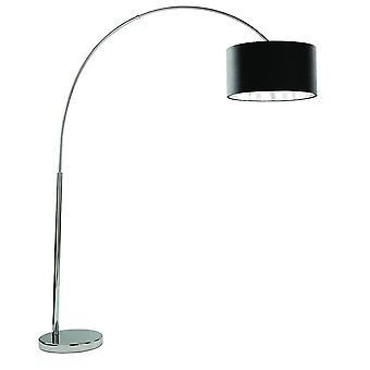 lyslys buer - 1 lys gulvlampe krom med svart skygge, E27