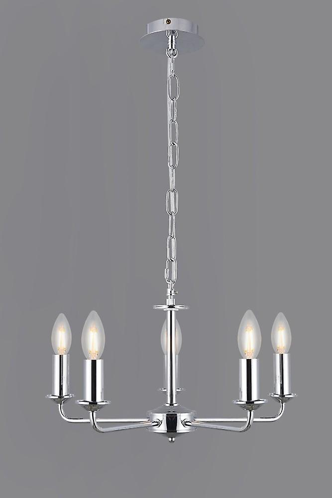Inspired Deco - Banyan - 5 Light Multi Arm Ceiling Pendant without Shade, c, w 2m Chain, E14 Polished Chrome