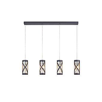 Iluminación luminosa - 4 barra de luz colgante de techo lineal E14, gris mate, cromo pulido, coñac