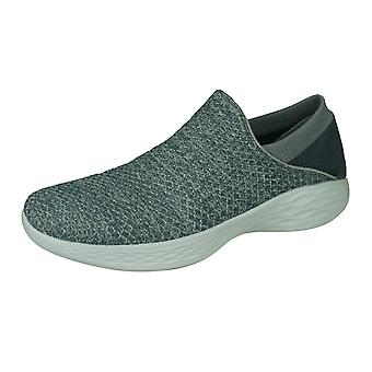 Skechers You Walk Womens Slip On Walking Shoes Comfortable Trainers - Charbon
