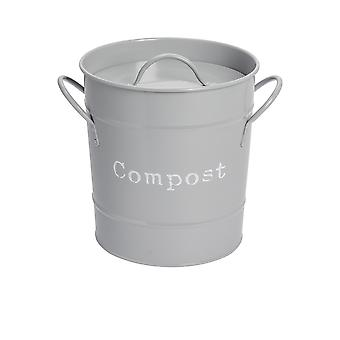 Industrial Compost Bin - Vintage Style Steel Kitchen Storage Bucket - Removable Inner - Grey